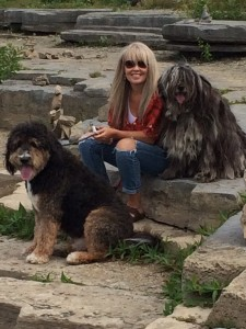 Janet and dogs on rock